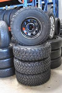 "4 SET 15"" BLACK SUNRAYSIA RIMS WITH MUD TYRES + GOOD CONDITION Virginia Brisbane North East Preview"