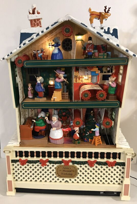 Christmas Santas Workshop Holiday Dollhouse Doll Action Musical Vintage Music