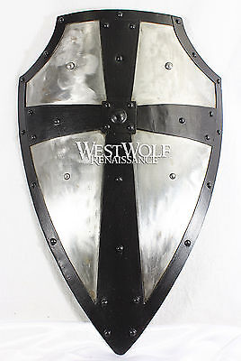 Hand-Forged Gothic LAYERED STEEL CROSS SHIELD -- Medieval Battle Armor (Gothic Shield)