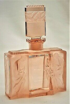 - Perfume, flacon, scent bottle, flacon. pink, Art Deco, Czech, Hoffmann, c1930,5