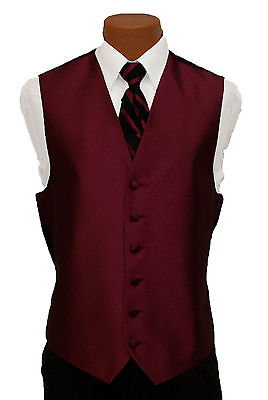 Medium Mens After Six Aries Burgundy Fullback Prom Wedding Tuxedo Vest & Tie After Six Aries Vest