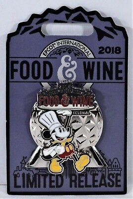 Disney 2018 Epcot Food & Wine Festival Chef Mickey Logo 3-D Pin Limited NEW CUTE
