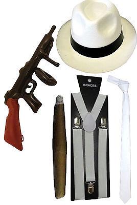 MENS WHITE HAT TIE BRACES 1920s GANGSTER FANCY DRESS AL CAPONE ROARING PIMP CIGA