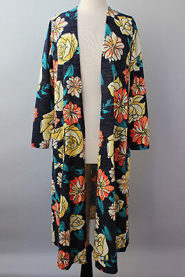 Medium LuLaRoe Sarah Beautiful Charcoal Gray Coral Cream Yellow Flowers Cardigan