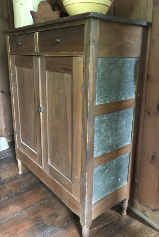 Primitive Country Punched Star Tin Antique Kitchen Pantry Pie Safe Cupboard