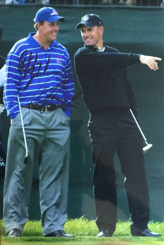 Phil Mickelson & Padraig Harrington Signed 12x8 photo Open Champions UACC dealer