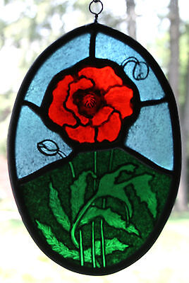 - Stained Glass,Hand Painted,Kiln Fired, Red Poppy Flower Panel, 1100-06