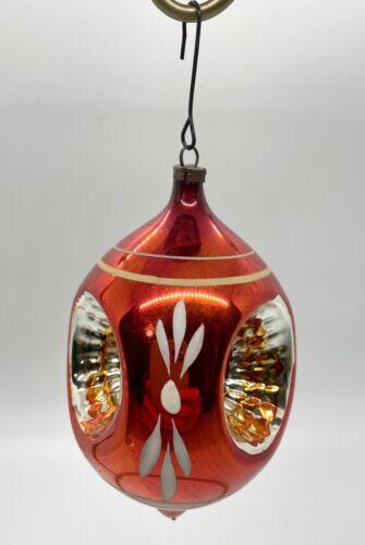 Vintage Shiny Bright Indent Christmas Ornament Dark Orange with 3 Indents