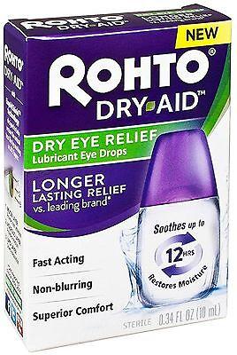 Rohto Dry Aid Dry Eye Relief Lubricant Eye Drops 0.34 oz