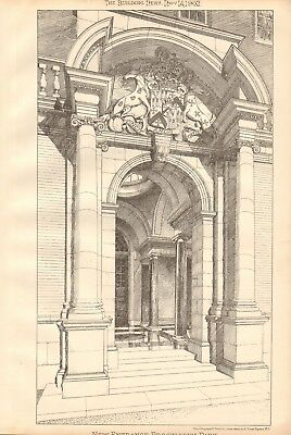 1902  ANTIQUE PRINT- ARCHITECTURE - LINCOLNSHIRE -NEW ENTRANCE, BROCKLESBY PARK