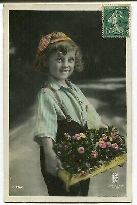 CPA - Carte Postale - Fantaisie - Portrait d'un Jeune Garçon - Panier de Fleurs