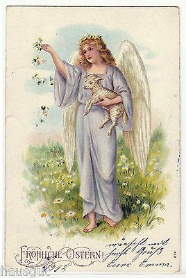 Fröhliche Ostern Engel mit Lamm Präge AK 1912
