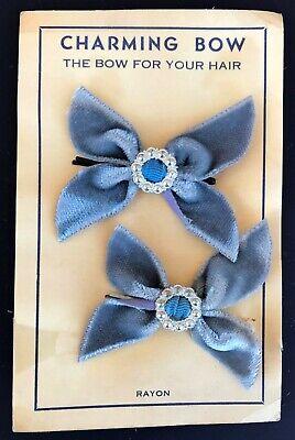 Vintage Hair Pins -1950's Pair of Lilac/Purple Velvet Bow  Hair - 1950s Hair