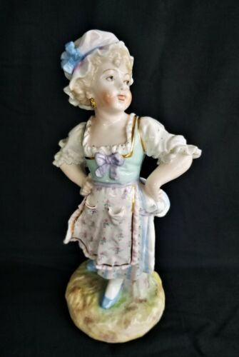 "Large Antique German Figurine 10 3/4"" Woman Blue Mark Star Line"