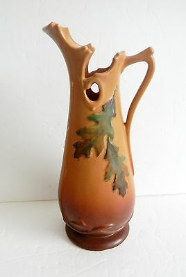 Weller art pottery tall ewer or pitcher - Oak Leaf and Acorn -  FREE SHIPPING