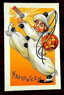 OISEMAKER & JACK O'LANTERN HALLOWEEN Stecher 408-F Postcard  (Clown Jack O Lantern)