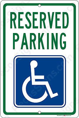 Reserved Handicap Parking Sign Aluminum Metal Signs 8x12