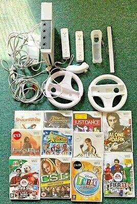 Nintendo Wii Console Bundle - 2 x Controller - 1 x Nun chuck - 11 x Games