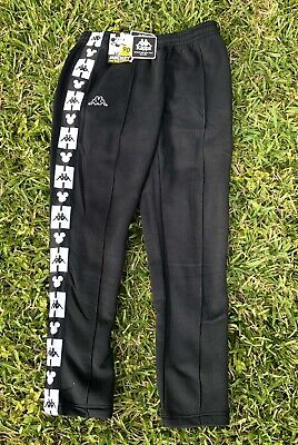 Kappa X Disney Black & White Sweatpants Slim Fit Mickey Logo Size Large NEW
