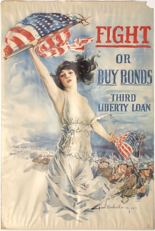 "Original Vintage Poster FIGHT OR BUY BONDS THIRD LIBERTY LOAN War WWI 20"" x 30"""