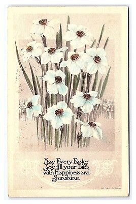 Easter Arts And Crafts (Vintage Postcard Arts and Crafts Easter Gibson Art Blue and White Flowers)