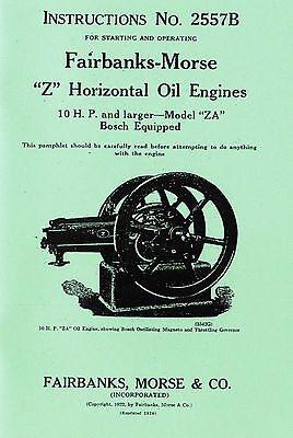 Fairbanks Morse Z A Gas Oil Engine Motor 10hp Bosch Magneto Hit Miss Manual Book