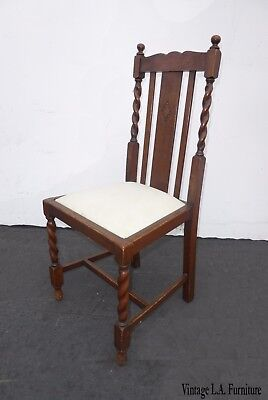 Vintage Spanish Colonial Style Barley Twist White Accent Chair