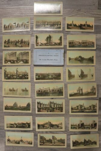 09/10. Antique 1905 St. Louis Worlds Fair 24 Photocolortype Stereoviews W/ Box