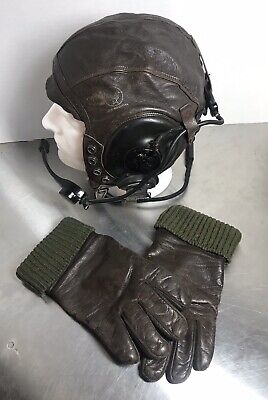 WWII KOREA ARMY AIR FORCE A-11 PILOT FLIGHT HELMET AND GLOVES NAMED