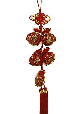 """Oriental Feng Shui Wall Hanging W. tassels """"Fu""""-Fortune"""