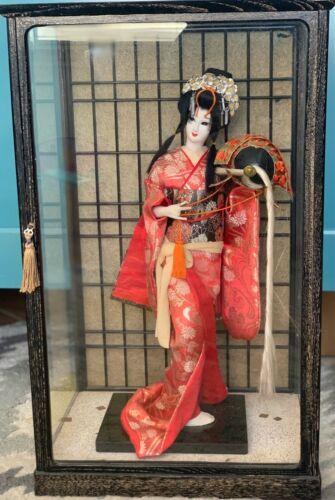 "Vintage Japanese Geisha doll in Kimono 17""  43cm in glass case 21"""
