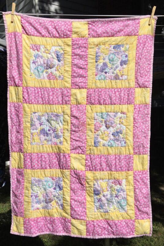 Homemade reversible baby crib quilt
