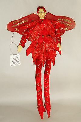 """Christmas Fairy 14"""" Holiday Red with Gold Accents Ornament Elves Elf Collectible"""