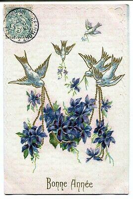 CPA - Carte Postale - Thème - Fête - Bonne Année - Oiseaux - Fleurs