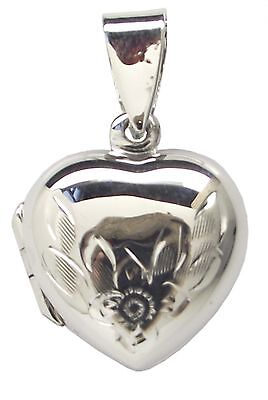 925 Sterling Silver Family LOCKET FLORAL HEART 24mm Drop Pendant Flower - Floral Family Locket
