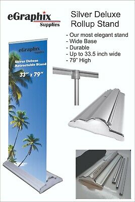 Silver Deluxe Retractable Roll Up Banner Stand Display 33 X 79 W Free Ship