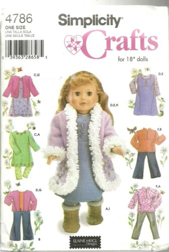 "SIMPLICITY 4786 PATTERNS FOR 18"" DOLL CLOTHES ELAINE HEIGL DESIGNS 2004  NEW!"