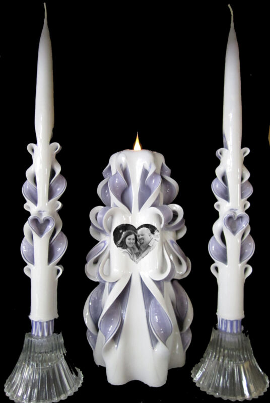 Your PHOTO on a Custom hand-carved Wedding Unity Candles Set - PERSONALIZED!