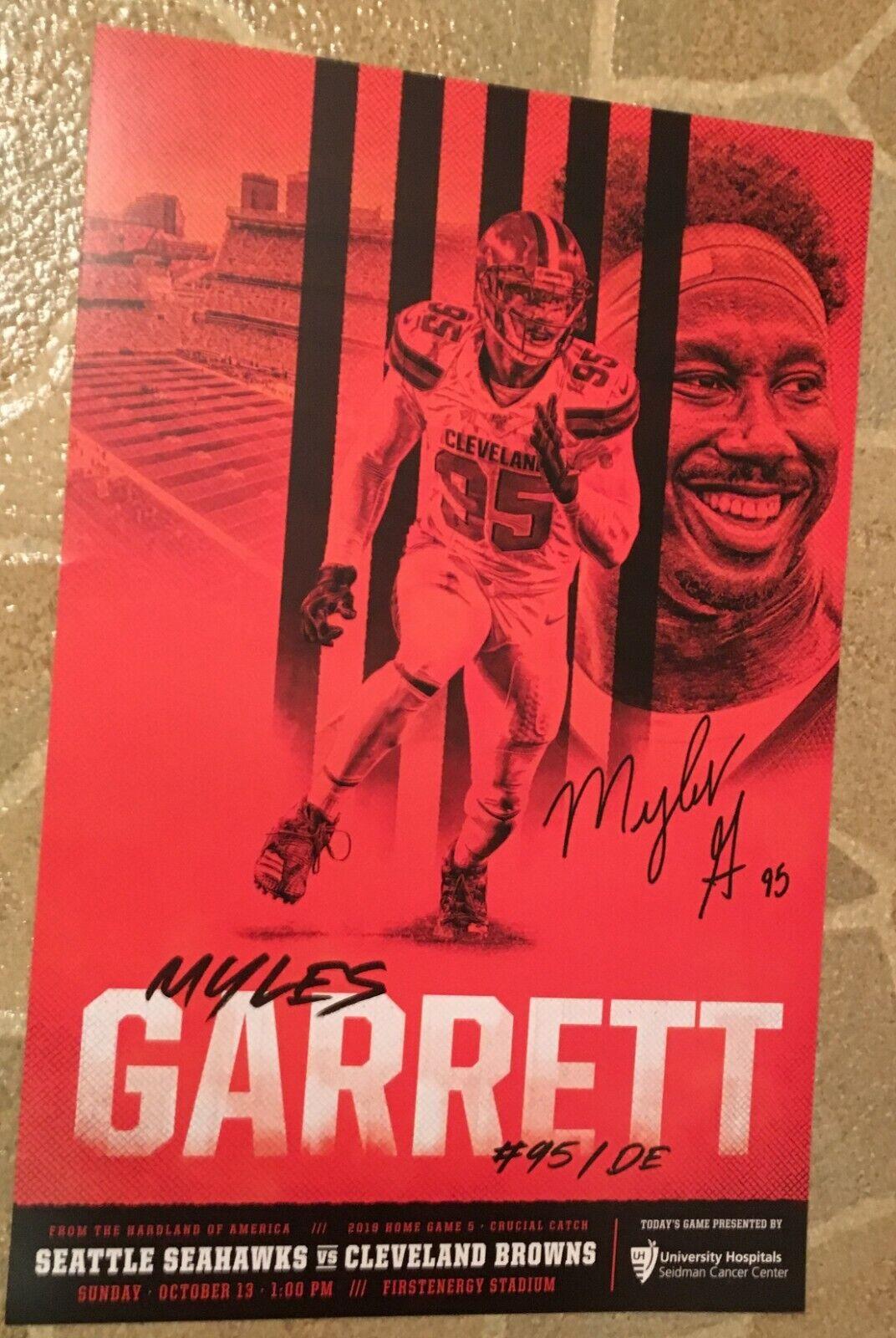 Myles Garrett 95 Poster 2019 Cleveland Browns Gameday Poster Sportscards Com