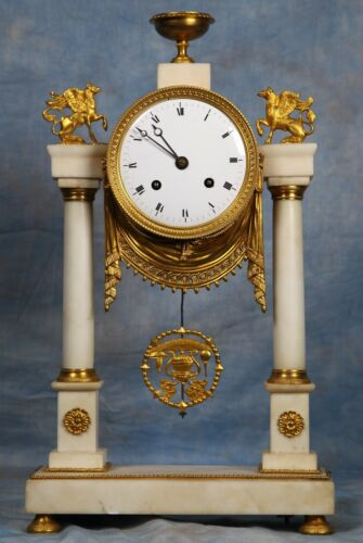 French Gilded Bronze Ormolu Dore & Carrara Marble Portico Clock Early 1800s