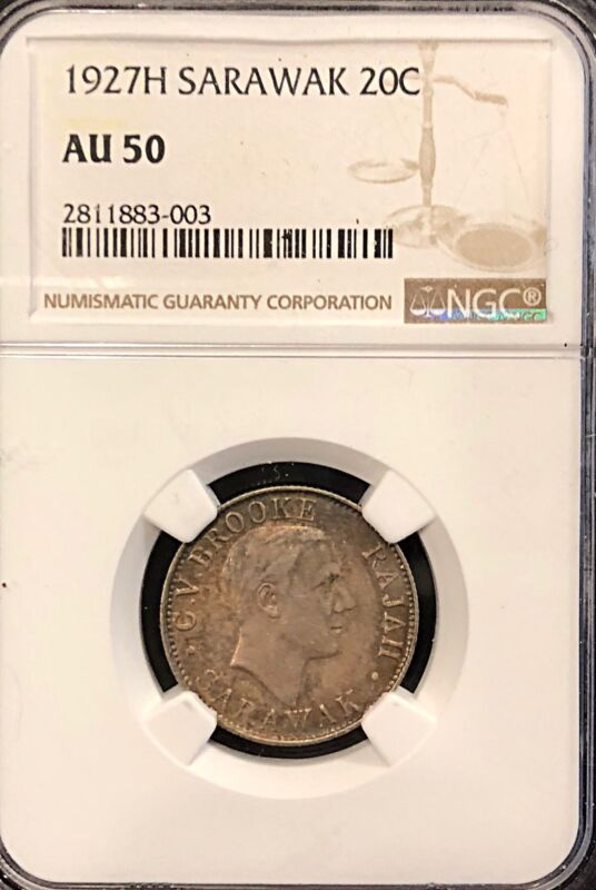 Sarawak 1927H Silver 20 Cents NGC AU 50 One Year Issue