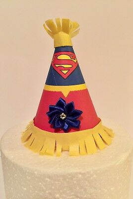 Superhero Inspired Party Hat Cake Topper With Satin Flower Supergirl - Supergirl Cake Topper