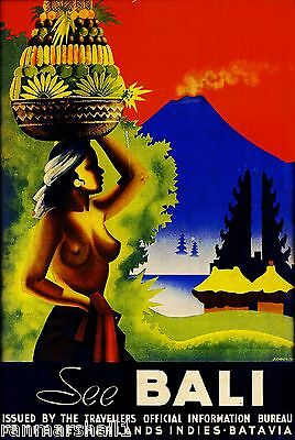 See Bali Indonesia Vintage Travel Advertisement Art Poster