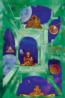 FANTASY POSTER~Cosmic Temple Buddha Stars Galaxy Religion Spiritual Art Print~