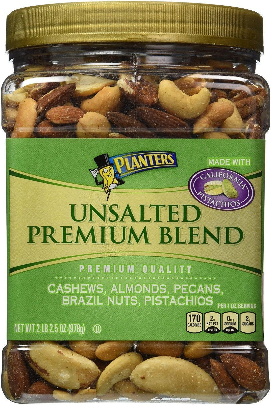 Mixed Nuts Deluxe 2 LB 2.5oz Jar Planters Premium Quality Unsalted on planters mixed nuts tin, planters salted mixed nuts, planters mixed nuts ingredients, planters roasted mixed nuts,