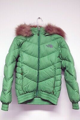 The North Face Womens  Fur Hood Green 600 Fill Goose Down Puffer Jacket size:XS