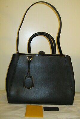Fendi 2Jours, Black, Leather, Medium, NEW handbag