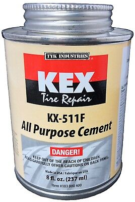 (Kex Cold Vulcanizing Rubber Tire and Tube Patch Plug Repair Cement Glue 8oz can)