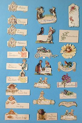 25x antike Tischkarte Platzkarte Lithographie Kinder Geburstag Feier Oblate~1900