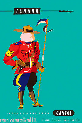 Canadian Mountie Qantas Vintage Canada Canadian Travel Advertisement Poster